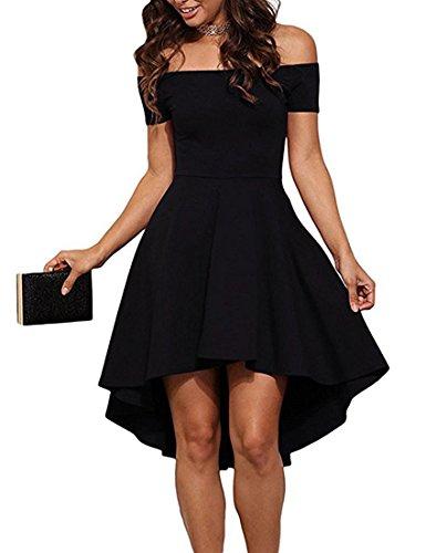 ZJCTUO Damen Kleid Abendkleid Schulterfreies Cocktailkleid Jerseykleid Skaterkleid Knielang Elegant Festlich Asymmetrisches Partykleid