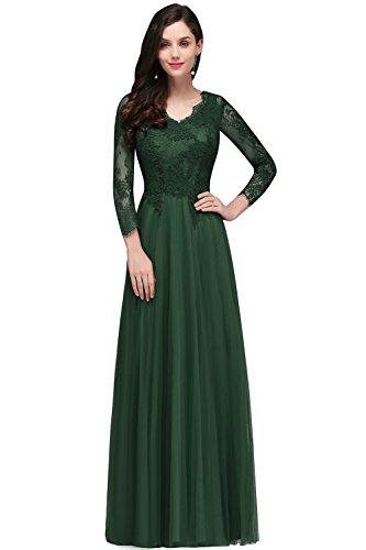 MisShow Damen Elegant Spitzen Brautkjungfernkleid Abendkleid Tüll Ballkleid Rückenfrei lang 32-46
