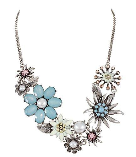 SIX Statementkette: Halskette in Silber,Edelweiß-Blumen und weißen Kunstperlen, Oktoberfest, Kostüm, Karneval, Fasching, hellblau/rosa/gelb (388-103)